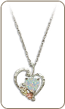 Black Hills Silver Heart Necklace with Opal Heart Pendant (SKU: PE628SS)