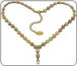 Black Hills Gold Necklace with Pearl Dangle and Adjustable Chain (SKU: NE499)