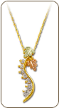 Black Hills Gold Journey Necklace with Cubic Zirconia and Black Hills Gold Leaves (SKU: PE1010-101)