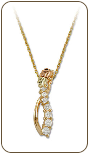 Black Hills Gold Journey Necklace with Cubic Zirconia and Black Hills Gold Leaves (SKU: PE1011-101)