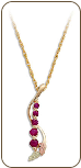 Black Hills Gold Journey Necklace with Rubies and Black Hills Gold Leaves (SKU: PE1012-207)
