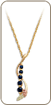 Black Hills Gold Journey Necklace with Sapphires and Black Hills Gold Leaves (SKU: PE1012-209)
