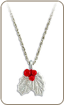 Sterling Silver Pendant with Holly Berries  (SKU: PE1025SS)
