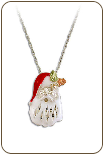 Sterling Silver Santa Claus Pendant with Black Hills Gold Leaves (SKU: PE1026SS)