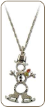 Sterling Silver Snowman Pendant with Skating Snowmen and Black Hills Gold Leaves (SKU: PE1051SS)