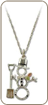 Sterling Silver Snowman Pendant with Snow Shovel and Black Hills Gold Leaves (SKU: PE1053SS)
