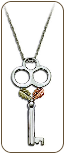 Black Hills Silver Skeleton Key Pendant with Black Hills Gold Leaves (SKU: PE1144SS)