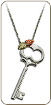 Black Hills Silver Skeleton Key Pendant with Black Hills Gold Leaves (SKU: PE1145SS)