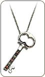 Black Hills Silver Skeleton Key Pendant with Black Hills Gold Leaves (SKU: PE1147SS)