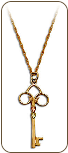 Black Hills Gold Skeleton Key Pendant with Leaves in Yellow or Rose Gold (SKU: PE1150)