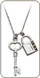 Black Hills Silver Skeleton Key Pendant with Black Hills Gold Leaves (SKU: PE1154SS)
