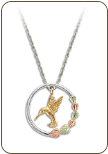 Sterling Silver Hummingbird Pendant with Black Hills Gold Leaves (SKU: PE1155SS)