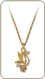 Black Hills Gold Hummingbird Heart Necklace with Black Hills Gold Leaves (SKU: PE282)