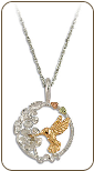 Sterling Silver Hummingbird Pendant with Black Hills Gold Leaves (SKU: PE3077SS)