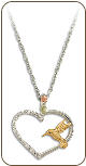 Sterling Silver Hummingbird Heart Pendant with Black Hills Gold Leaves (SKU: PE3079SS)