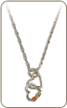 Sterling Silver Dual Heart Pendant with Black Hills Gold Leaves (SKU: PE3101SS)