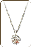 Sterling Silver Pendant with Black Hills Gold Leaves and Diamond (SKU: PE3734XSS)
