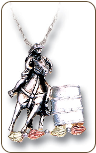 Sterling Silver Barrel Racer Pendant with Black Hills Gold Leaves (SKU: PE4040SS)