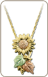 Black Hills Gold Sunflower Necklace (SKU: PE411)