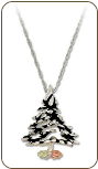 Sterling Silver Christmas Tree Pendant with Black Hills Gold Leaves (SKU: PE415SS)