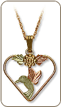 Black Hills Gold Hummingbird Heart Necklace with Black Hills Gold Leaves (SKU: PE490)