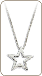 M. Sterling Silver Diamond Star Pendant (SKU: PE5003XSS)