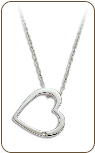 O. Sterling Silver Diamond Heart Pendant (SKU: PE5005XSS)