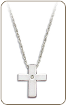 E. Sterling Silver Diamond Cross Pendant (SKU: PE5008XSS)