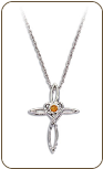 Sterling Silver Cross Pendant with Yellow Montana Sapphire (SKU: PE5100SS-935)