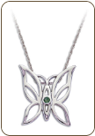 Sterling Silver Butterfly Pendant with Green Montana Sapphire (SKU: PE5103SS-933)