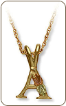Landstroms Black Hills Gold Initial Pendant with Leaves (SKU: PE513)