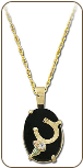 Black Hills Gold Horseshoe Pendant with Onyx Inset and Diamond (SKU: PE722X)