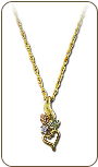 Black Hills Gold Heart Pendant with Black Hills Gold Leaves and Diamond (SKU: PE772X)