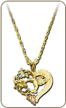 Black Hills Gold Heart Pendant with Hummingbird (SKU: PE793)
