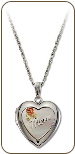 Sterling Silver Mothers Heart Locket with Black Hills Gold Rose and Leaves (SKU: PE800SS)