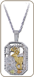Sterling Black Hills Silver Deer Pendant with Black Hills Gold Leaves (SKU: PE802SS)