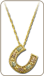 Black Hills Gold Horseshoe Pendant with Black Hills Gold Leaves (SKU: PE846)