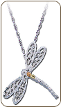 Sterling Silver Dragonfly Pendant with Black Hills Gold Leaves (SKU: PE863SS)