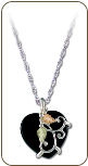 Sterling Silver Heart Necklace with Onyx Heart Pendant (SKU: PE919SS)