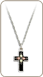 Black Hills Silver Black Enamel Cross Necklace with Leaves (SKU: PE958SS)