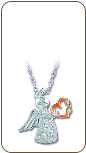 Sterling Silver Angel Pendant with Heart (SKU: PE964SS)