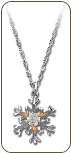 Sterling Silver Snowflake Pendant with Clear Cubic Zirconia (SKU: PE969SS-101)