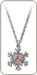 Sterling Silver Snowflake Pendant with Pink Cubic Zirconia (SKU: PE970SS-102)