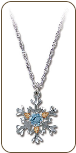 Sterling Silver Snowflake Pendant with Blue Cubic Zirconia (SKU: PE971SS-105)