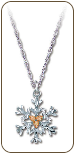 Sterling Silver Snowflake Pendant with Black Hills Gold Leaves (SKU: PE972SS)