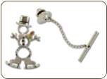 Sterling Silver Snowman Tie Tack / Lapel Pin with Skating Snowman and Black Hills Gold Leaves (SKU: PN1051SS)