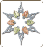 Sterling Silver Snowflake Brooch Pin with Black Hills Gold Leaves (SKU: PN419SS)