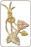 Black Hills Gold Brooch Pin with Leaves and Grape Cluster (SKU: PN56)