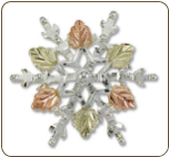 Sterling Silver Snowflake Brooch Pin with Black Hills Gold Leaves (SKU: PN873SS)