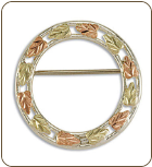 Sterling Silver Circular Brooch Pin with Black Hills Gold Leaves (SKU: PN965SS)